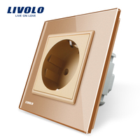 Free Shipping Livolo EU Standard Power Socket Golden Crystal Glass Panel AC 110 250V 16A Wall