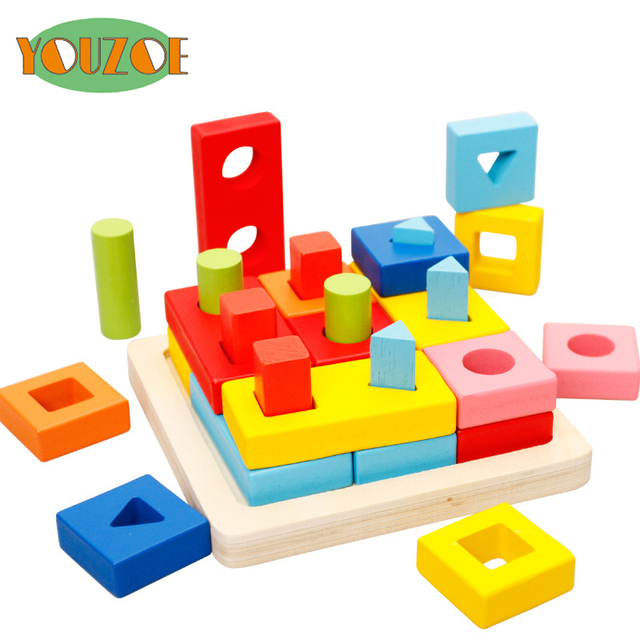YOUZOE Eco Friend Learning Education Wood Blocks Children Multifunction  Early Learning Cube Colors Wooden Toys Images