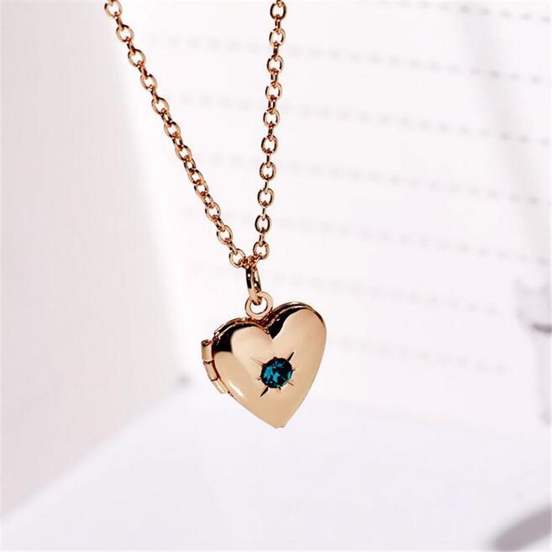 Rhinestones Box Photo Frame Locket Pendant Necklace Fashion Heart Jewelry For Women Love Gift YT-N331