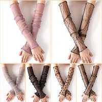 Women's Summer Sun Protection Sleeves Mesh Lace UV Thin Long-sleeved Bike Breathable Cycling Gloves Driving Arm Warmers Sleeves