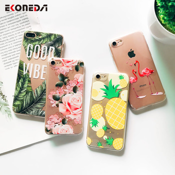 EKONEDA Silicone Case For iPhone 7 7Plus 6 6S 6Plus 5 5S SE Case Soft TPU Cover Flower Leaves Bird For iPhone 6S 8Plus X XS Max