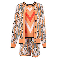 3 Pieces Sets Women Early Spring Hit Color Jacquard Long Sleeve Sweater Cardigan + Striped Vest + Shorts Pant Three piece Suit