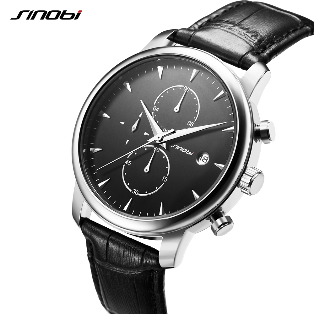 SINOBI Mens Wrist Watches Top Brand Luxury Leather Casual Quartz Watch Men Chronograph calendar Quartz-watch Relogio Masculino цена 2017