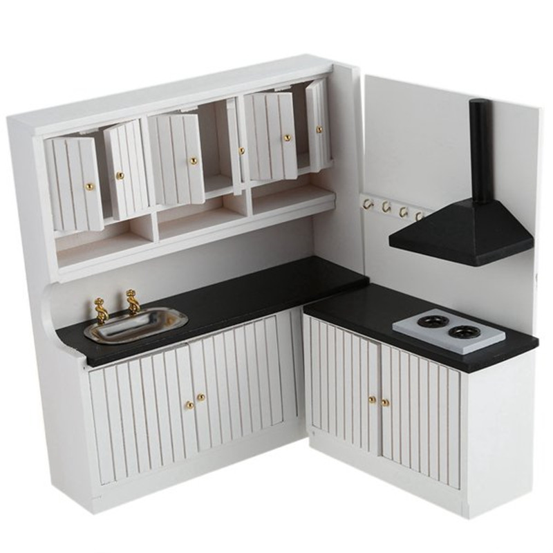 Us 17 16 18 Off 2018 New Hot Sale Kids Wooden Kitchen Set Toys 1 12 Scale Dollhouse Miniature Furniture In Doll Houses From Toys Hobbies On