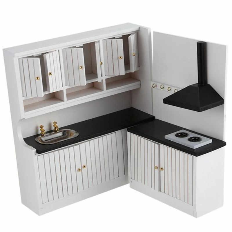 2018 New Hot Sale Kids Wooden Kitchen Set Toys 1/12 Scale Dollhouse Miniature Furniture