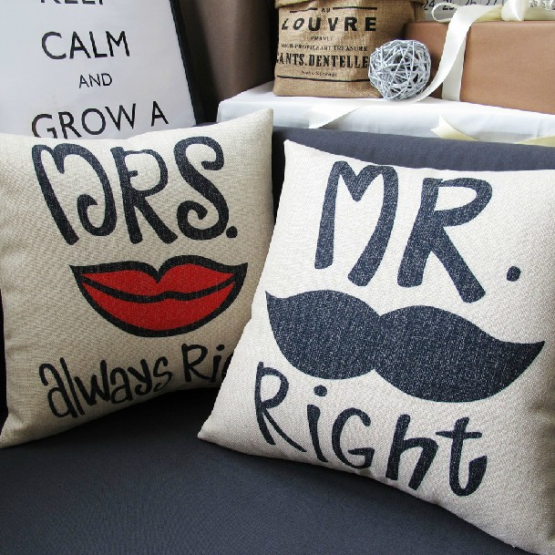 Mr Right Mrs Always Right Pillow Bearded Lips Lovers Cushion Delectable Mr And Mrs Pillow Covers