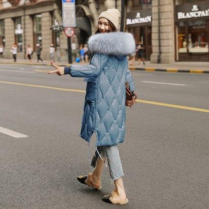 Raton Capuchon D'hiver Grand Vestes Femmes Épais À De Apricot Col Chaud Doudoune Parka noir Long Manteau Et Laveur bleu Fourrure RqRwXPB