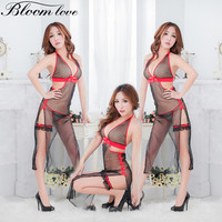 2017 New Fashion Sexy Mesh Long Dress Erotic Lingerie Women Nightdress Halter Neck Transparent Sexy Costume Lingerie FQ13