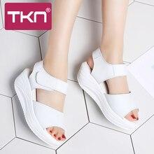 TKN 2019 spring women platform sandals white sandals Open To