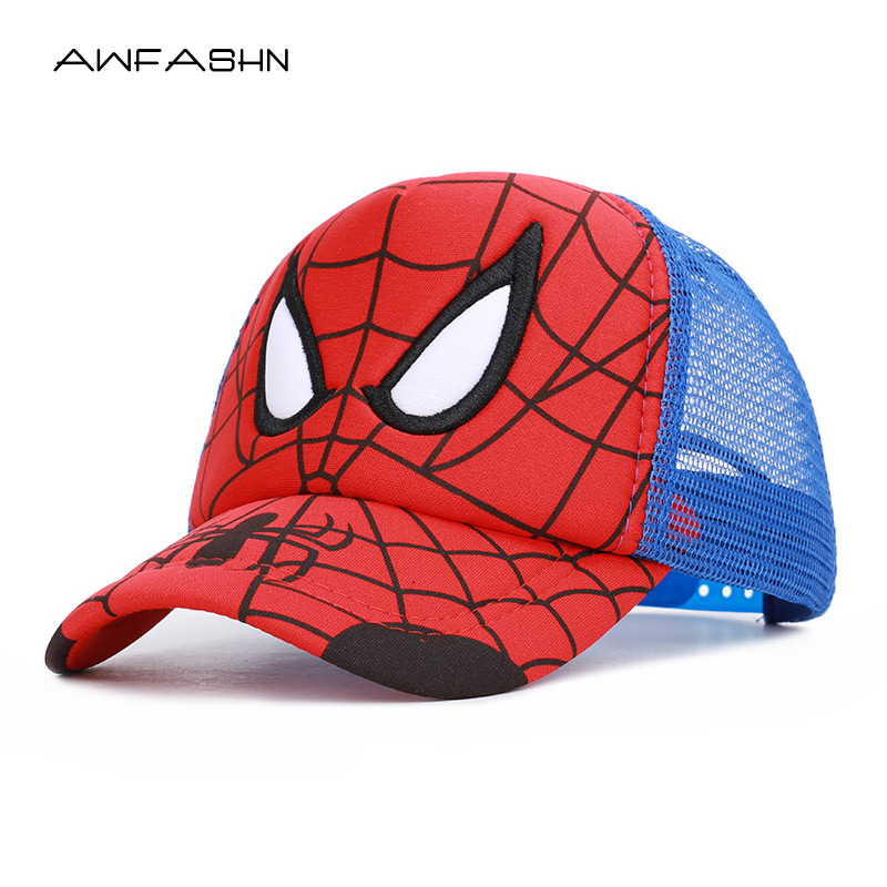 2019 New Spiderman Cartoon Children   Baseball     Cap   kids Boy Girl Hat Spider Man sun hat cosplay Kids   Cap   Boy   Baseball     Cap   Girls