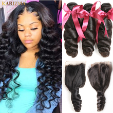 Karizma Brazilian Hair Weave Bundles With Closure Middle Part Brazilian Loose Wave 3 Bundles With Closure Non Remy Human Hair(China)