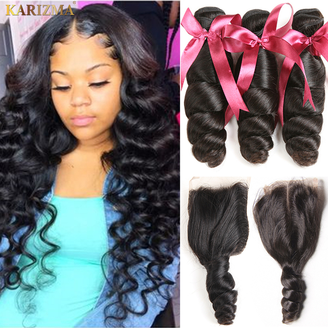 Karizma Brazilian Hair Weave Bundles With Closure Middle Part Brazilian Loose Wave 3 Bundles With Closure Non Remy Human Hair