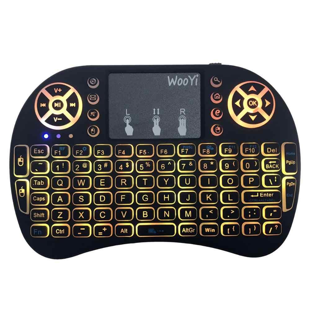 I8 mi ni Tastiera Senza Fili 2.4GHz Inglese Arabo Russo Ebraico QWERTY Tastiera con Touchpad Per Android TV Box Computer Portatile mi