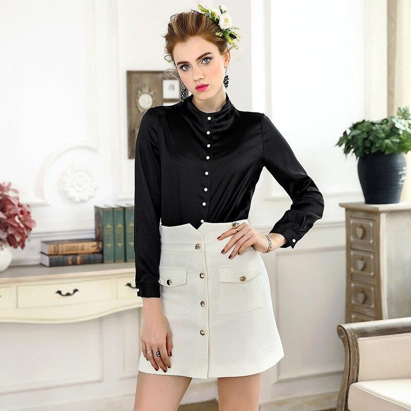 Black White Shirts New Brand Fashion 2018 Spring Womens Pearl Beading Button Down Elegant Basic Tops