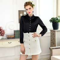 Black White Shirts New Brand Fashion 2018 Spring Womens Pearl Beading Button Down Elegant Basic Tops