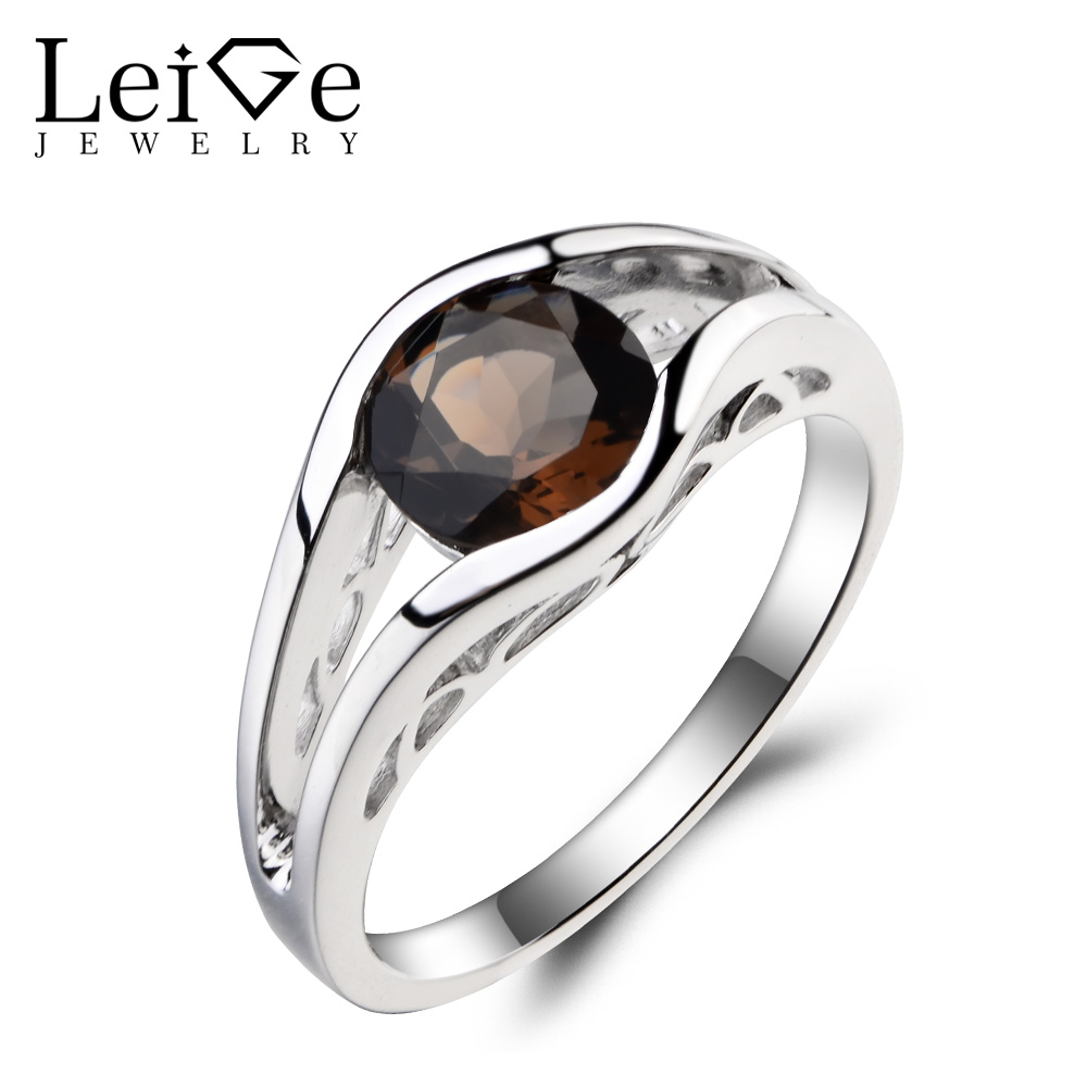 Leige Jewelry Round Cut Brown Gemstone Natural Smoky Quartz Ring Cocktail Ring 925 Sterling Silver Ring Solitaire Ring for Women цена 2017