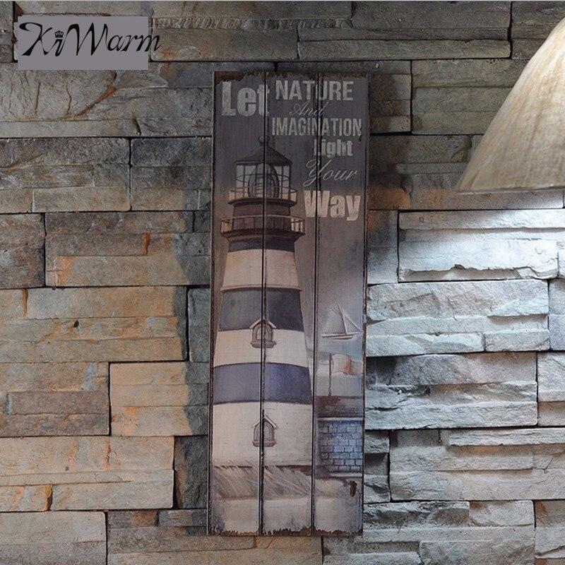 >Rustic Wooden Sign Plaque Wall Art Picture <font><b>Nautical</b></font> Decor <font><b>Anchor</b></font> Lighthouse Design for Home Bar Decor Wood Crafts 20cm x 60cm