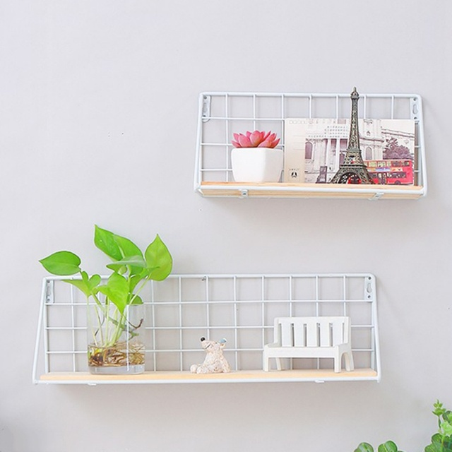 Nordic Wooden Iron Wall Floating Shelf Mounted Storage Rack Organization Bedroom Kitchen Home Kid Room Diy Decoration Holder 5