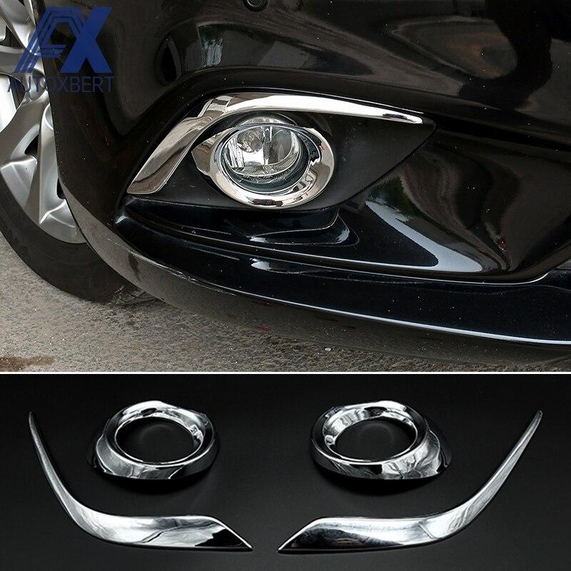 Chrome Front Fog Light Lamp Cover Trim Eyelid Garnish For Mazda 6 M6 2014 2015