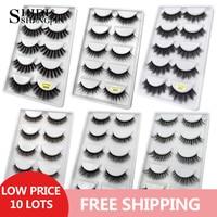 New 50 pairs wholesale mink eyelashes hand made false eyelash natural long 3d mink lashes makeup natural false lashes in bulk