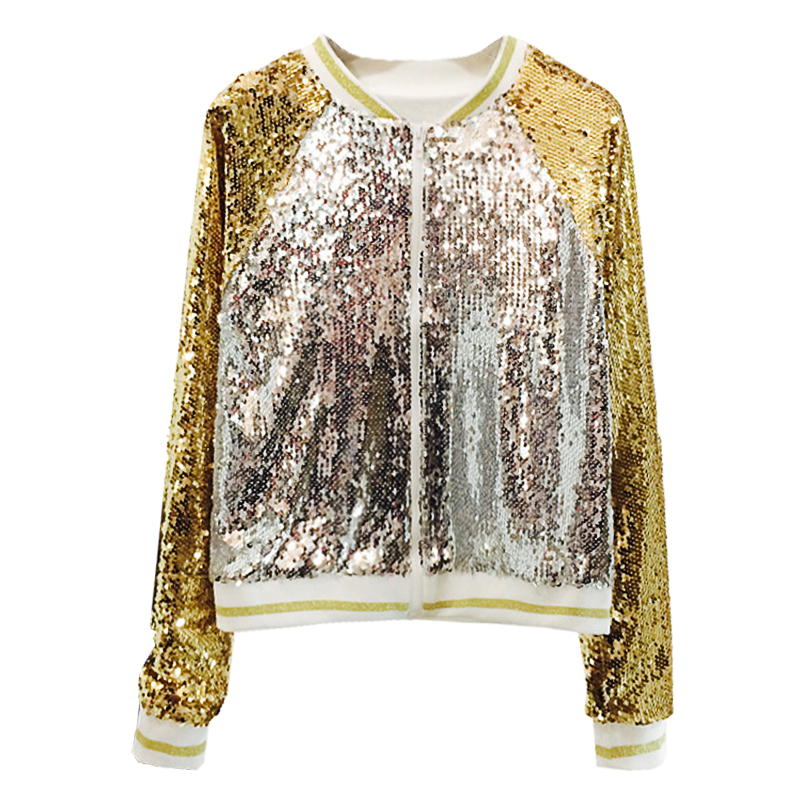 Fashion Sequins Bomber   Jacket   Women 2019 Autumn New Loose V Neck   Basic     Jacket   Outerwear Womens Casaco Feminino Shiny Costume