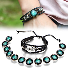 Fashion 12 Constellations Black Leather Bracelets For Men Boys Jewelry Bangle Bracelets Travel Accessories