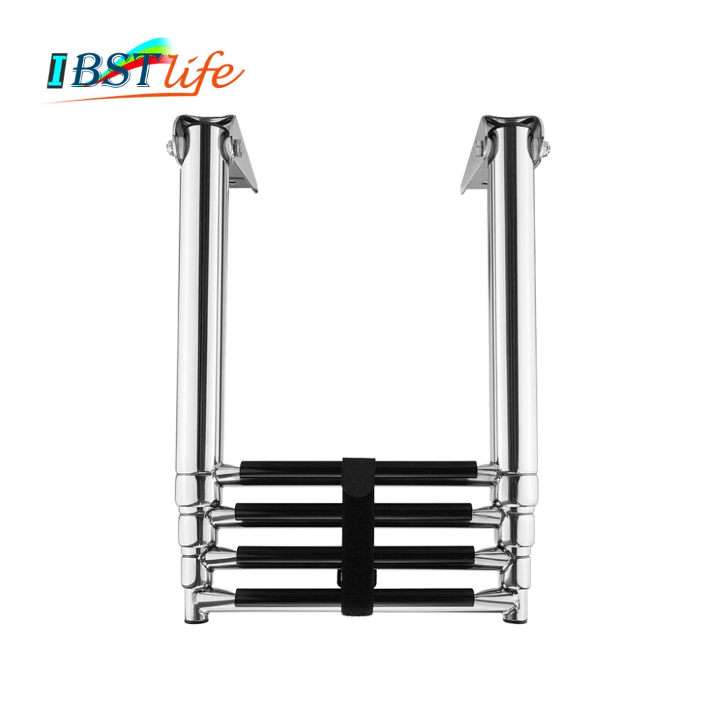 3 Step Telescoping Folding Ladder Platform Boarding Swim Boat Cabin Hardware