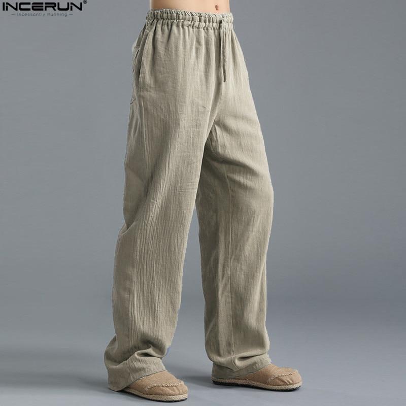 HTB1HrVAgpkoBKNjSZFkq6z4tFXa3 Spring Summer Men Pants Casual Mens Business Trousers Thin Linen Loose Elastic Waist Chinese Style Pants Straight Trousers Men