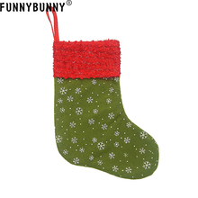 FUNNYBUNNY 2pcs Snowflake Mini Christmas Stockings Gift Card Bags Holders Small Rustic Felt Red Xmas Tree Decorations