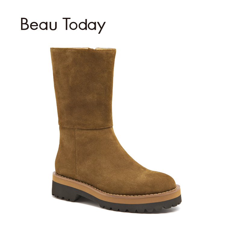2daf0e692dd US $113.47 47% OFF|BeauToday Women Boots Brand New Cow Suede Zipper Closure  Mid Calf Length Genuine Leather Winter Lady Fashion Shoes 02303-in ...
