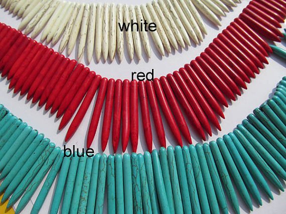 wholesale turquoise beads sharp spikes bar white red blue mixed jewelry necklace 20 50mm 3strands