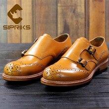 Sipriks импорт из Франции телячьей кожи модельные туфли мужские желтые мужские костюм обувь на заказ Шитье рант двойной Монк ремень Офис 46