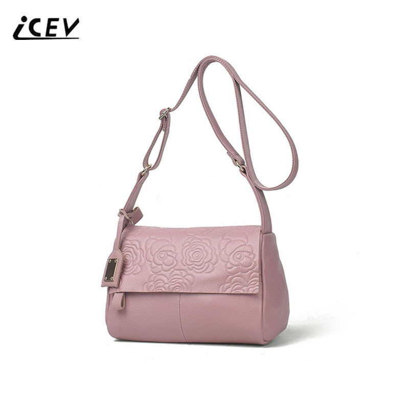 ICEV New Print Flower Genuine Leather Bags Simple High Quality Cowhide Women Leather Handbags Top Handle Bag Women Messenger Bag icev new korean fashion high quality simple genuine leather saddle crossbody bags for women messenger bags cow leather handbags