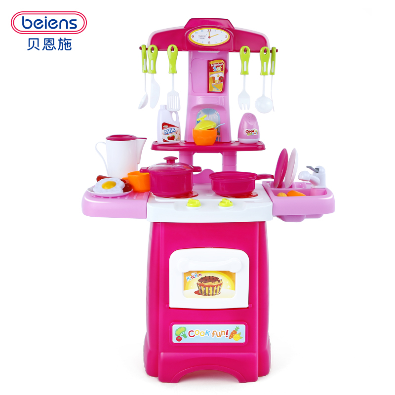 Beiens Kids Kitchen Accessories Cooking Toy For 2-4 Years Children Large Size Baby Pretend Play Toys With Light Sound Promotion