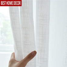 Elka Solid White Tulle Window Curtains For Living Room The Bedroom Modern Organza Voile Curtains Finished Sheer Curtains Panel(China)