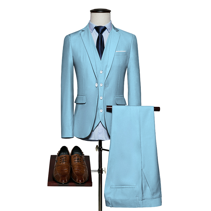 Слева Встроенная память (куртка + брюки + жилет) 2018 высококачественный Для мужчин одежда Чистый цвет костюм Для мужчин досуг костюм мужской и...