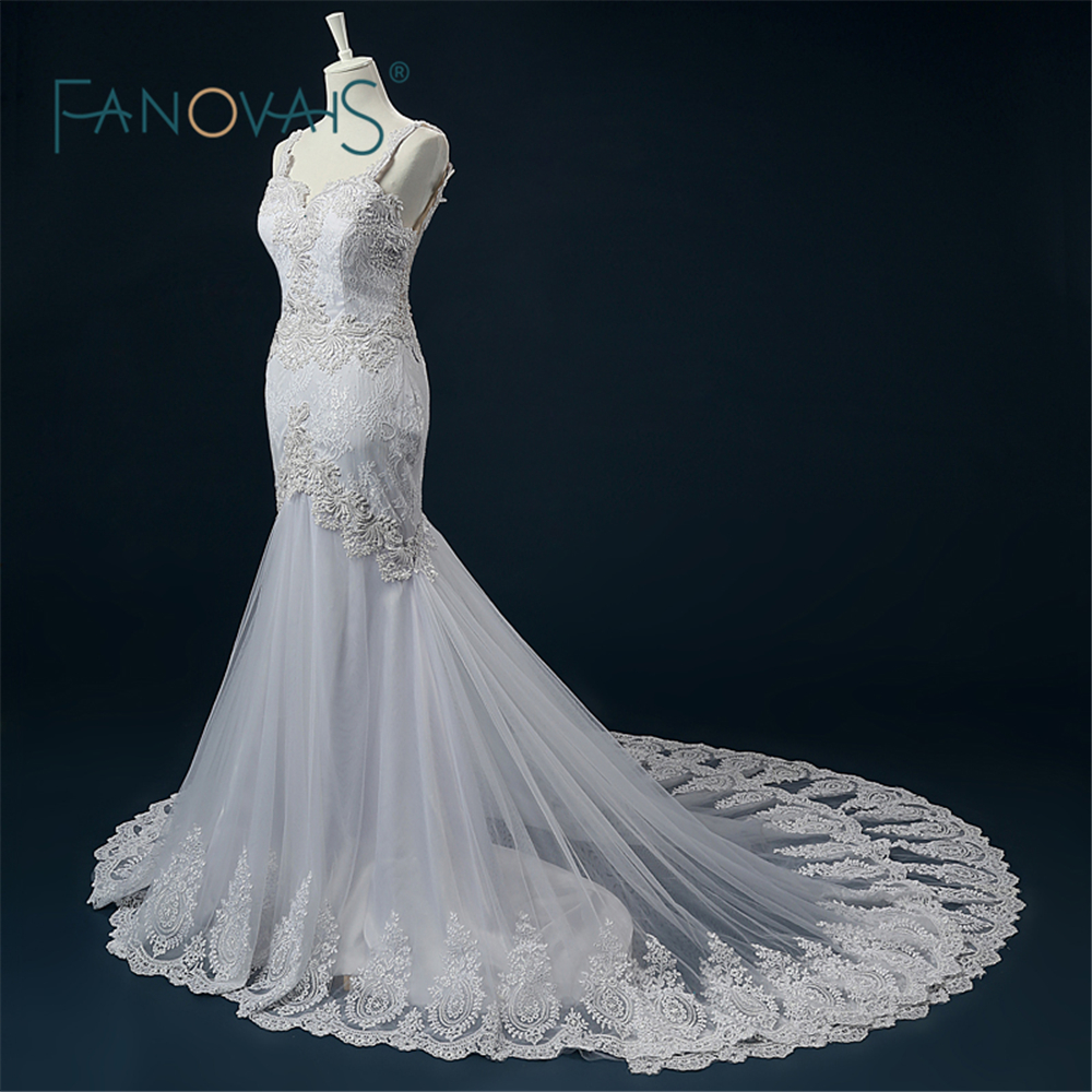 Court Train Luxury Wedding Gown Real Photo Low Back Peals Beading Appliqued Bridal Boho Sexy Mermaid Wedding Dress Lace ASAW44