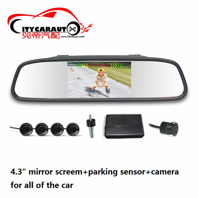 free shipment for universal car parking sensor car visible parking player with 4.3 rearview mirror for all of the car
