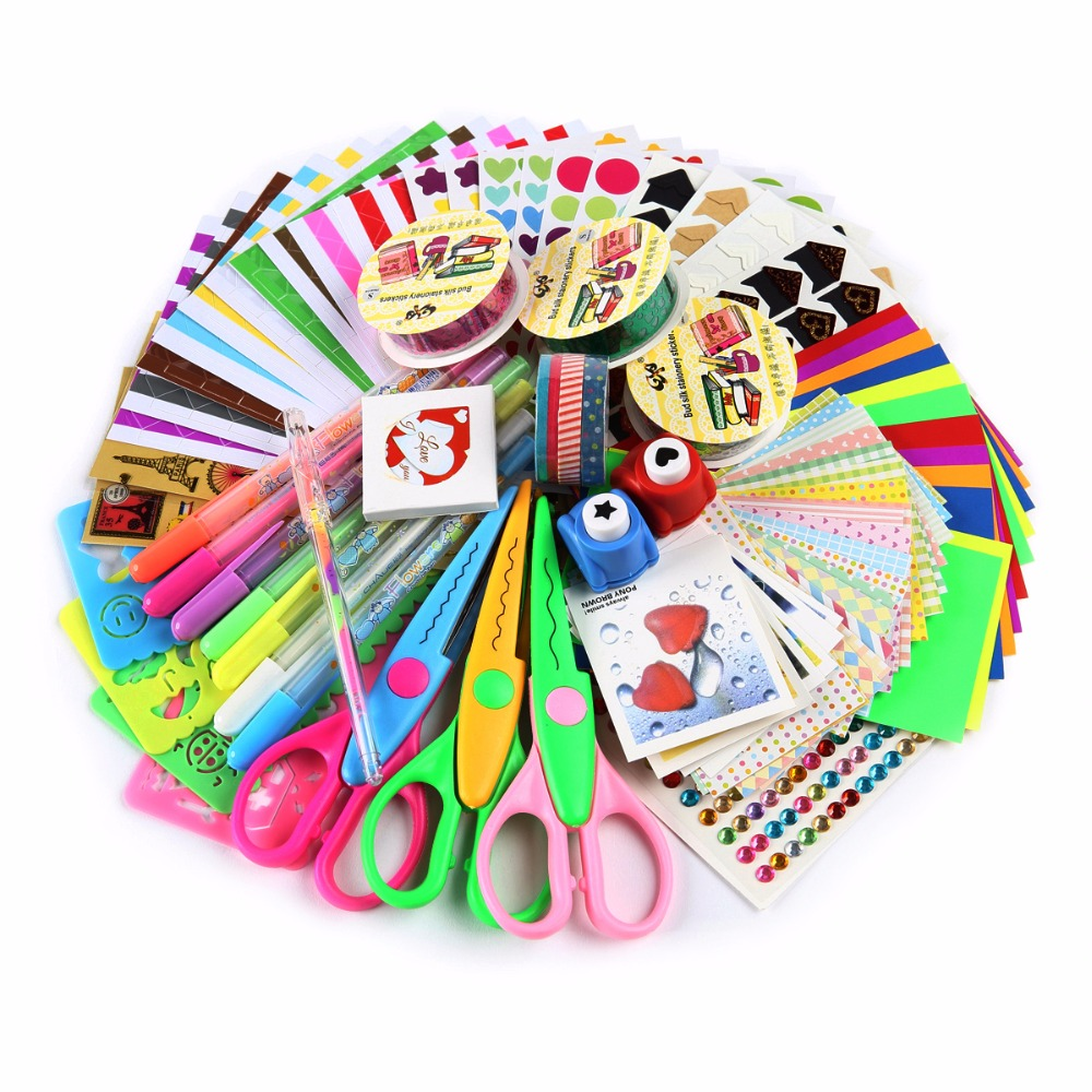 SiCoHome Scrapbooking Supplies with Paper Stickers Punches ...