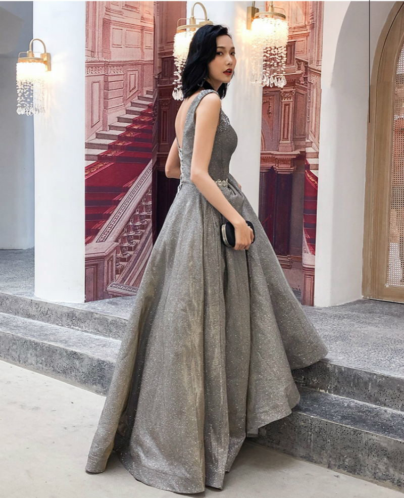 702f3c07a475 SSYFashion New Banquet Luxury Prom Dress V neck A line Sleevelss Grey Beading  Evening Party Formal Gown Custom Robe De Soiree-in Prom Dresses from  Weddings ...