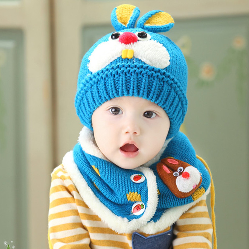 New Fashion Sale Unisex Kids Hats Children Baby Lovely Hat Caps+Scarf Boy Hat 1-4Years Brand Knitted Winter Warm Baby Clothing