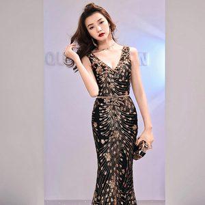 Image 5 - Женское вечернее платье Русалка FADISTEE, Элегантное Длинное платье с блестками, для выпускного вечера