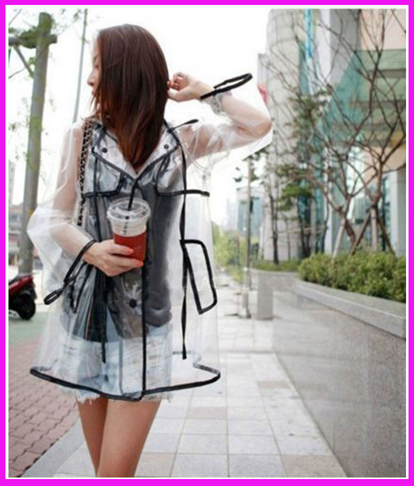 Hot Sale Women Girls Men Black Transparent Raincoats EVA Runway Clear Rain Coat Fashion Outdoor Travel Waterproof Rain Coat,