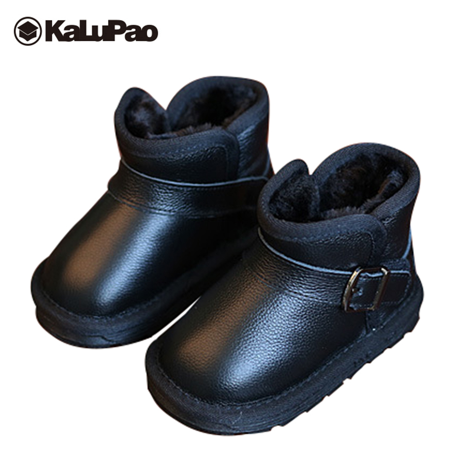 Kalupao boys girls snow boots kids genuine leather boots with fur anti slip children warm winter rubber boots shoes winter children s boots fashion ankle belt rubber bottom equal anti slip boy girls snow boots warm round head snow boots