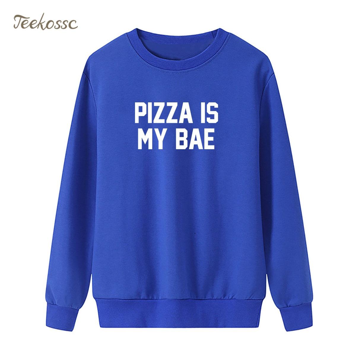 Pizza Is My Bae Sweatshirts Womens Hoodie 2018 New Brand Winter Autumn Lady Pullover Loose Fleece Blue Sportswear Brand Clothing