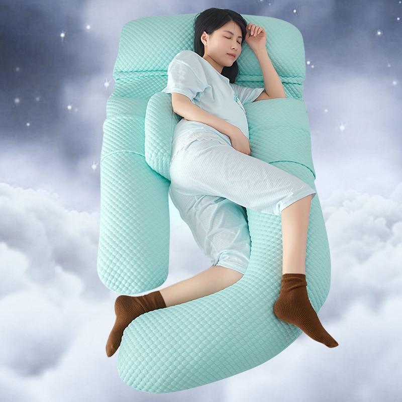 Oreiller de grossesse oreiller de corps pour les femmes enceintes confortable G u-forme coussin Long côté sommeil oreillers de maternité amovible 3D
