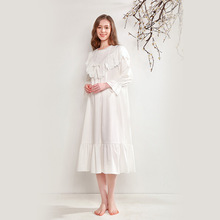 Nightgowns Female Spring Autumn Pure Cotton Long-Sleeve Thin Embroidery Palace Retro Lovely Princess Wind Nightdress D181217