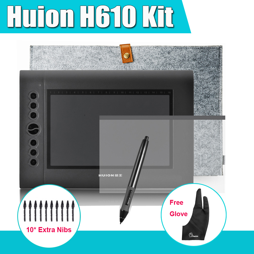 Huion H610 Professional Graphics Drawing Digital Tablet Kit + Linder Bag + Parblo Two-Finger Glove  + Protective Film professional ug 2150 ips hd tablet monitor parblo pr200w one hand mechanical gaming keyboard two finger glove screen protector