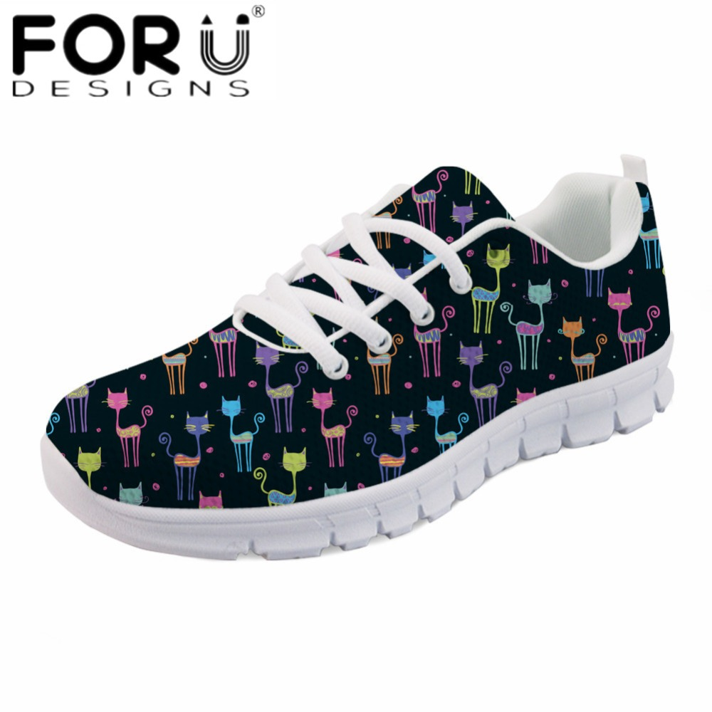 FORUDESIGNS Cute Cartoon Cat Printing Women Casual Flats Fashion Spring Mesh Sneakers Female Light Weight Breathable Flat Shoes instantarts fashion women flats cute cartoon dental equipment pattern pink sneakers woman breathable comfortable mesh flat shoes