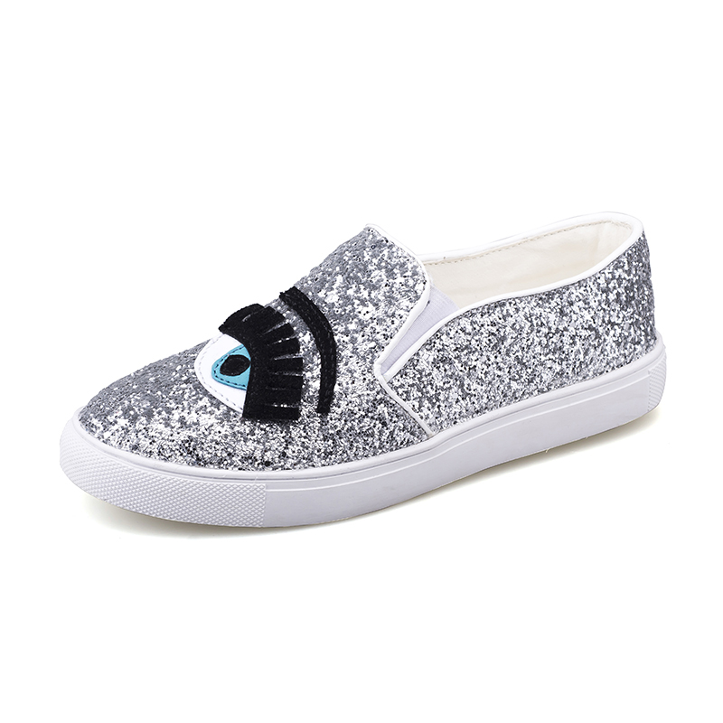 WOLF WHO Chiara Ferragni Flats Round Toe zapatos mujer Glitter Eyelash Flat  Espadrilles Blink Eye Flat Shoes Womens Lazy Loafers dd832ee09e3a